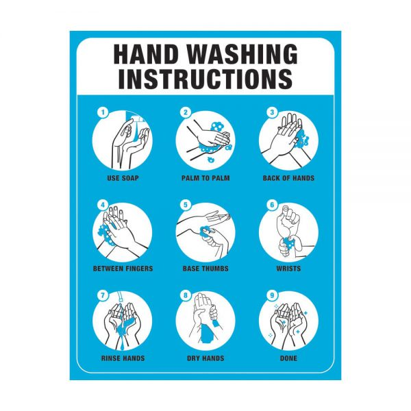 Hand Washing Instruction Poster Blue