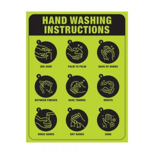 Hand Washing Instruction Poster Green