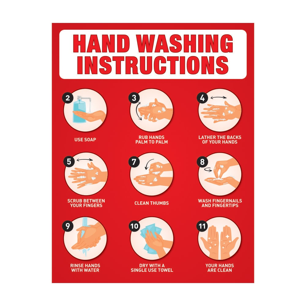 Hand Washing Instruction Poster Red