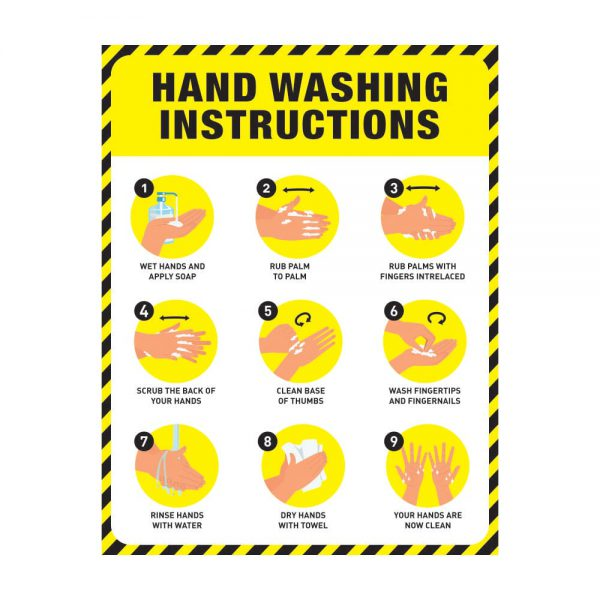 Hand Washing Instruction Poster Yellow