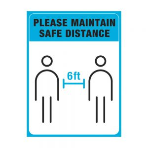 Please Maintain Safe Distance blue