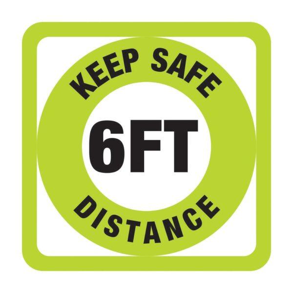 Keep Safe Distance Sticker Green