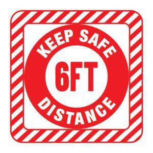 Keep Safe Distance Sticker Red