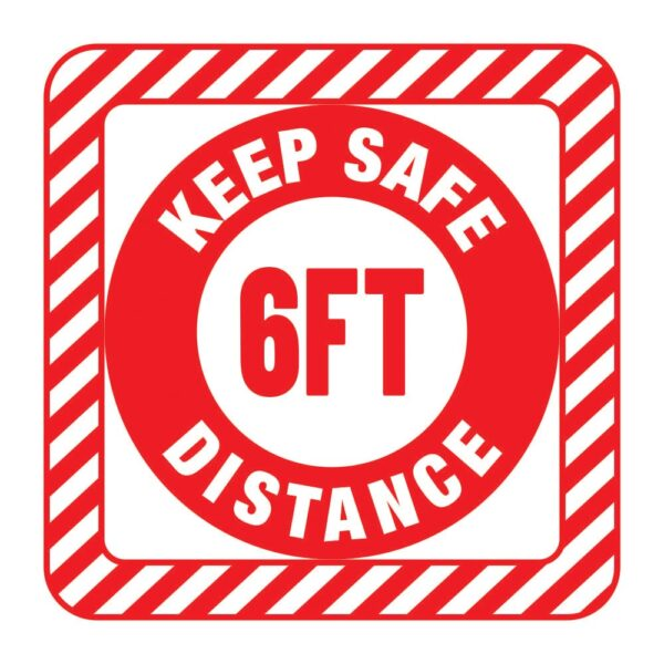 Keep Safe Distance Sticker Red