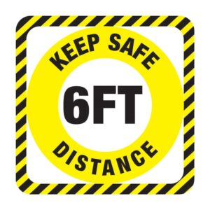 Keep Safe Distance Sticker Yellow