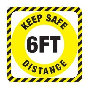 Keep Safe Distance Sticker Yellow