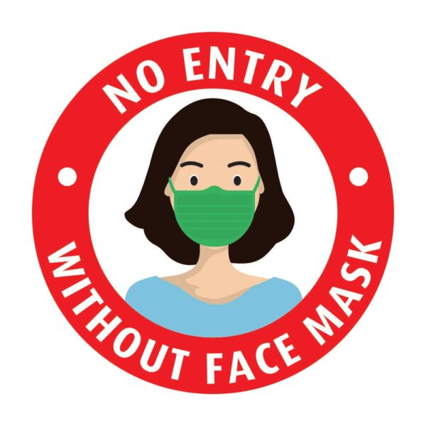 No Entry Without Face Mask Red