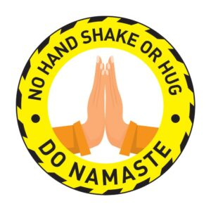 No Hand Shake Do Namaste Poster Sticker YEllow
