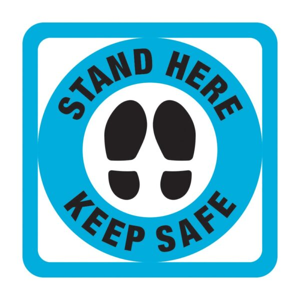 Stand Here Sticker Blue