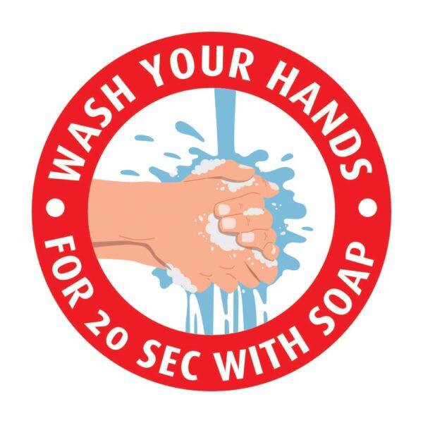 Wash Your Hands Sticker Red