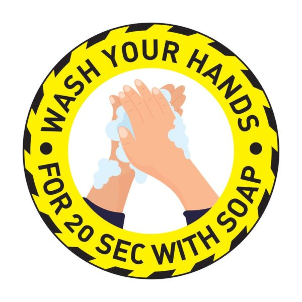 Wash Your Hands Sticker Yellow